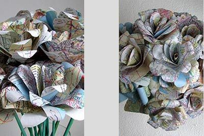 3/25: Paper Map Flowers