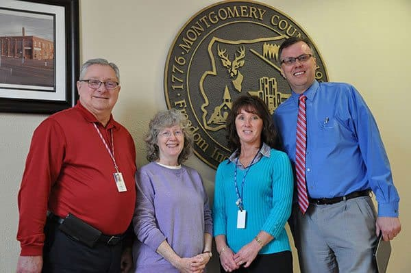 Pictured from left to right are Director of Elections and General Registrar, Randy Wertz; Electoral Board Secretary, Carroll Williams; Incoming Director of Elections and General Registrar, Connie Viar; and Montgomery County, Va., Board of Supervisors Chair, Chris Tuck.