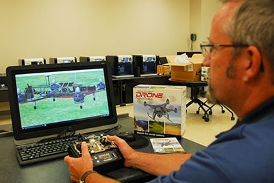 """Jeff Levy """"test drives"""" a drone simulator"""