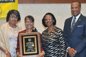 Nannie B. Hairston Award winner, Roxie Palmer (l-r: Dy-Anne Penn, Roxie Palmer, Deborah Travis, and N.L. Bishop). (Photo by Larry Middleton)