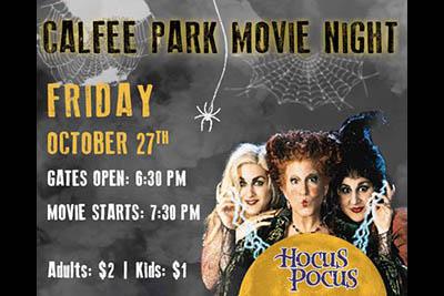 10/27: Movie Night at Calfee Park
