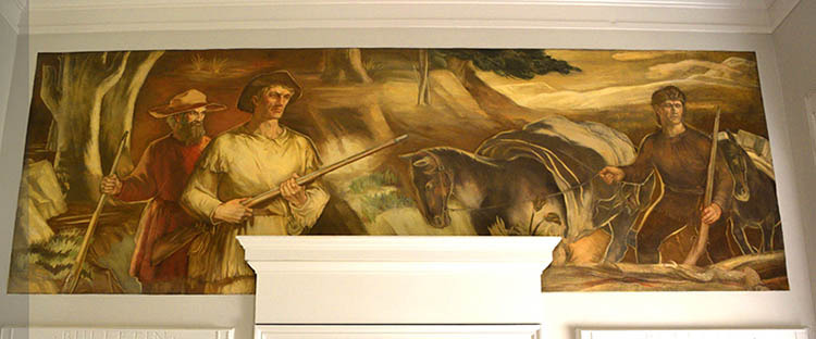 "WPA New Deal historical mural in Boone NC, ""Daniel Boone on a Hunting Trip"" now on the Appalachian Mural Trail"