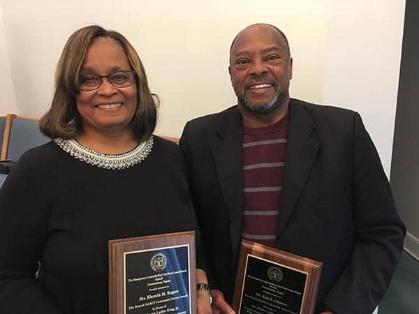 Rhonda Rogers (L) and Alan Johnson, winners of the MLK Community Service Awards (photo courtesy of James C. Klagge)