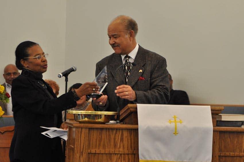 Mistress of Ceremonies Shirley Brown (L) thanks the speaker, Joe Sheffey (photo courtesy of Larry Middleton)