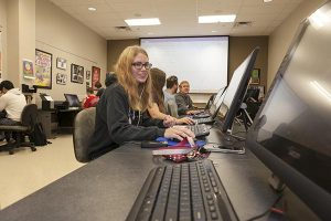 NRCC graphic design classroom, college's New River Valley Mall site