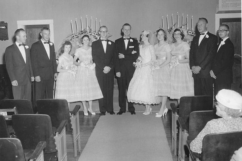 Bridal party of Rev. Dale and Daris Martin in 1959. The wedding dress shown will be on display at Glencoe. Image courtesy Darlene Lane.