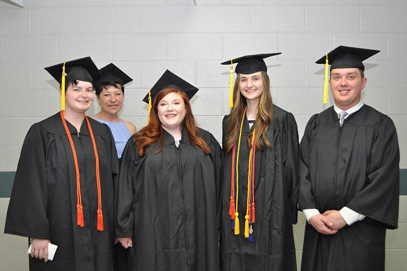 MONTGOMERY COUNTY: From left: Christina Reed, Angie Woody, Brittany Linkous, Jordan Perfater, Andrew Thomas