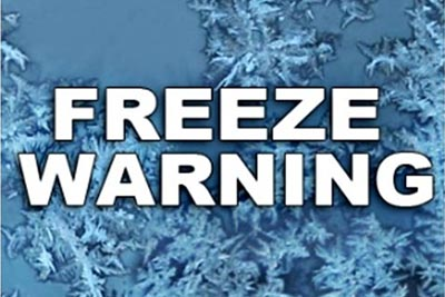 Freeze Warning in Effect This Weekend