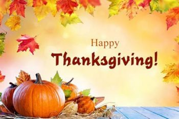 Holiday schedule for Thanksgiving
