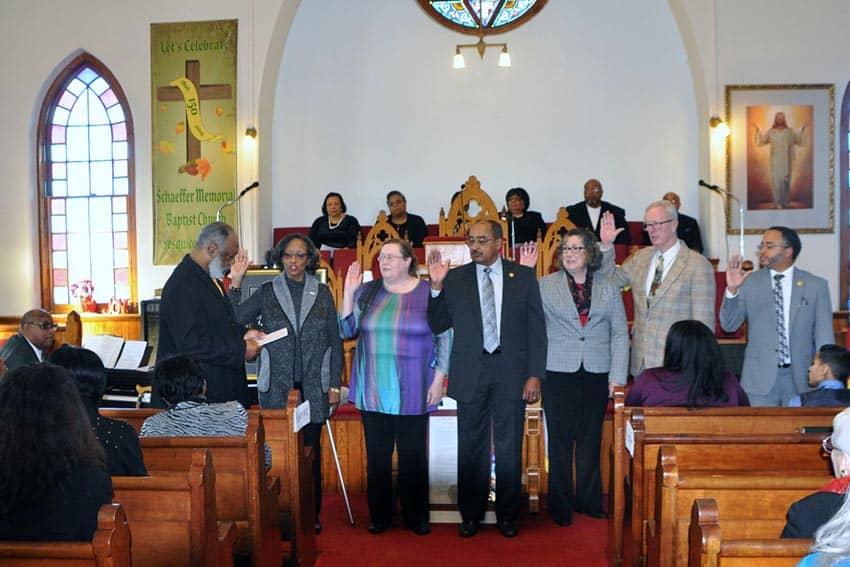Branch officers being sworn in (l-r. Alvin Humes, Deborah Travis, Terry Goodson, Allen Palmer, Gunin Kiran, Michael Sanborn, and Marlin Reeves) (photo by Larry Middleton)