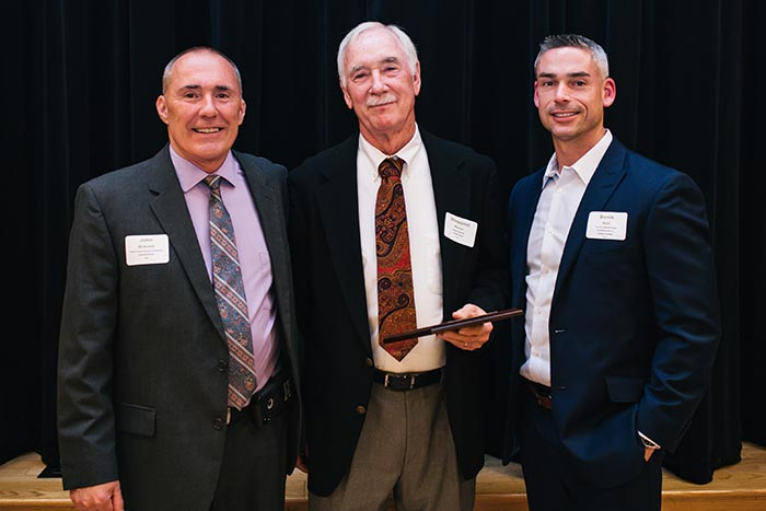 •Chamber Executive Director's Award – Shep Nance - Chamber Board/Retired From L to R, are:  John McEnhill – Chamber Executive Director; Shep Nance; Derek Wall – Chamber President.