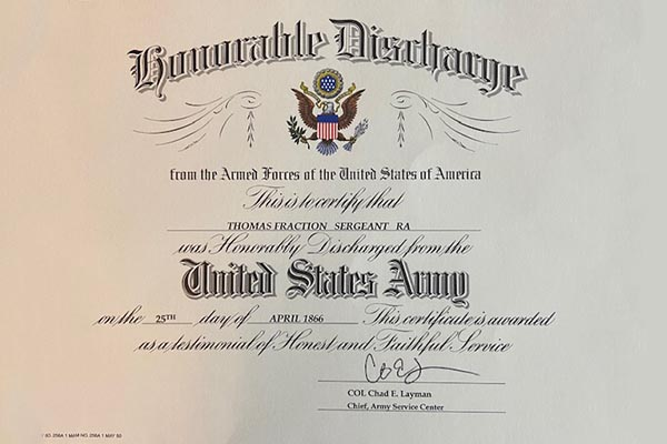 Certificate of Honorable Discharge provided after 155 years.